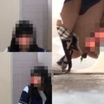 トイレ覗き!黒髪のアイドル系美女がマ〇コ丸見えうんこ中~