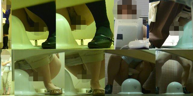 若いOL4名と熟女OL5名 和式トイレ前撮り